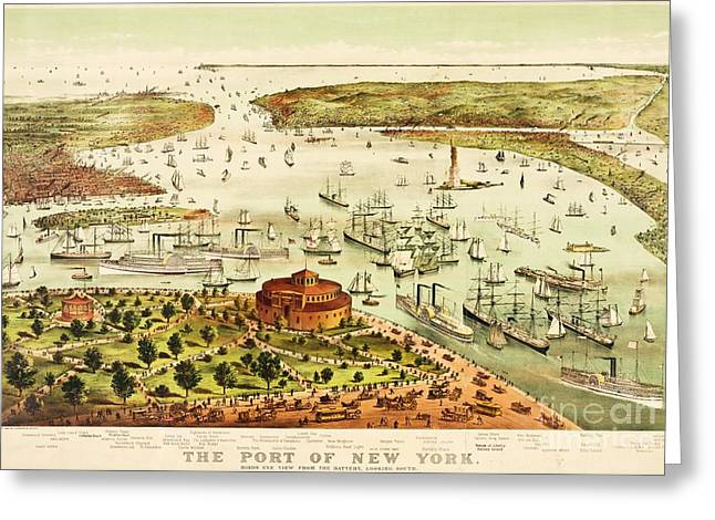 The Port Of New York Harbor Greeting Card by Pg Reproductions