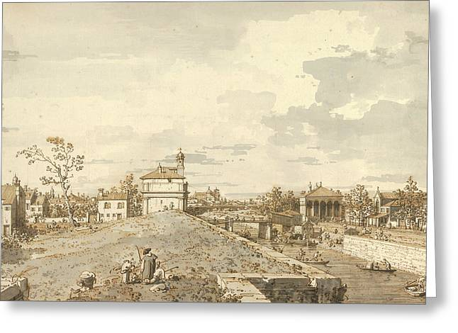 The Porta Portello With The Brenta Canal In Padua Greeting Card by Canaletto