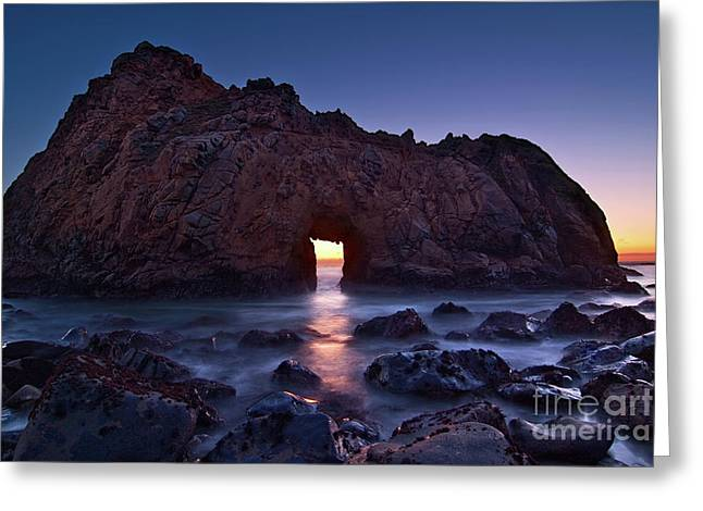 The Portal - Sunset On Arch Rock In Pfeiffer Beach Big Sur In California. Greeting Card