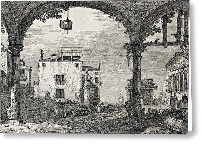 The Portico With A Lantern Greeting Card by Canaletto