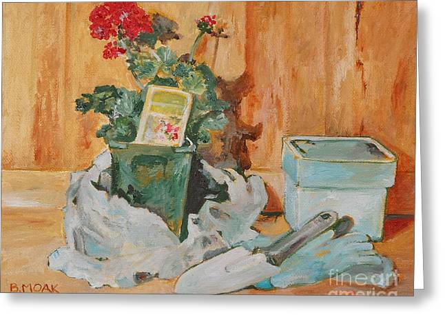 The Potting Bench Greeting Card by Barbara Moak