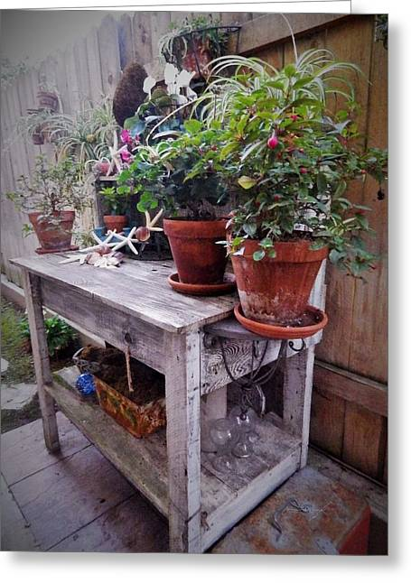 The Potting Bench Greeting Card by Jan Moore