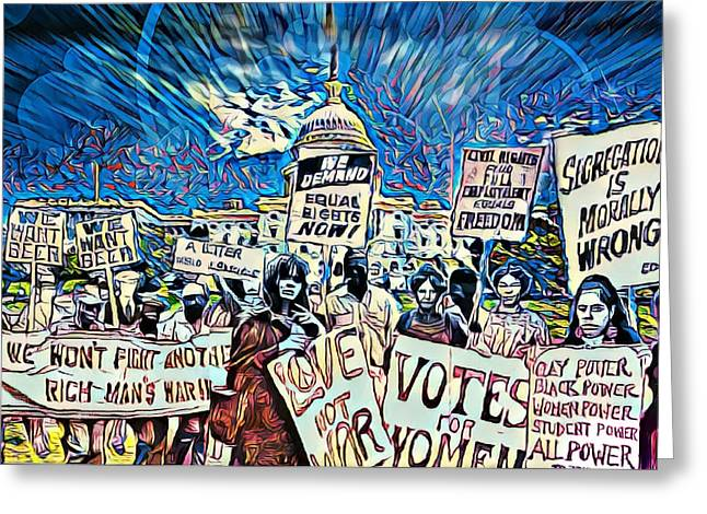 The Power Of Protest Greeting Card by Kelly Reed