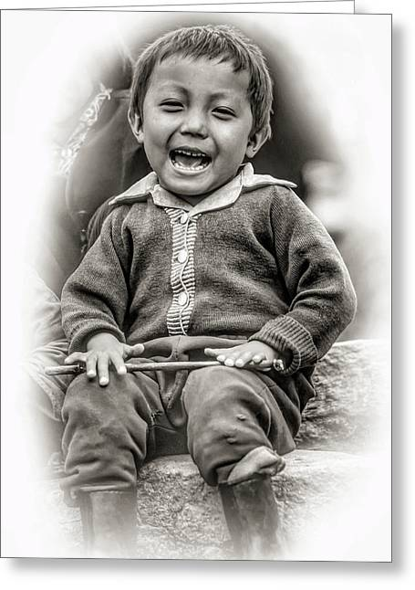 The Power Of Smiles - Vignette Bw Greeting Card by Steve Harrington