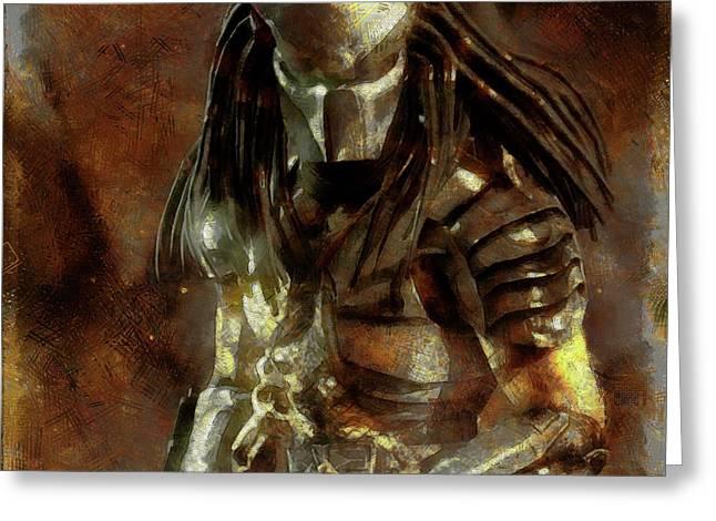 The Predator Scroll Greeting Card by Mario Carini