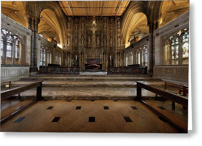 Greeting Card featuring the photograph The Presbytery And Mortuary Chests. by Richard Wiggins