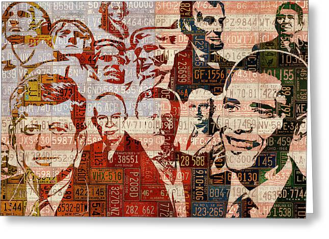 The Presidents Past Recycled Vintage License Plate Art Collage Greeting Card by Design Turnpike