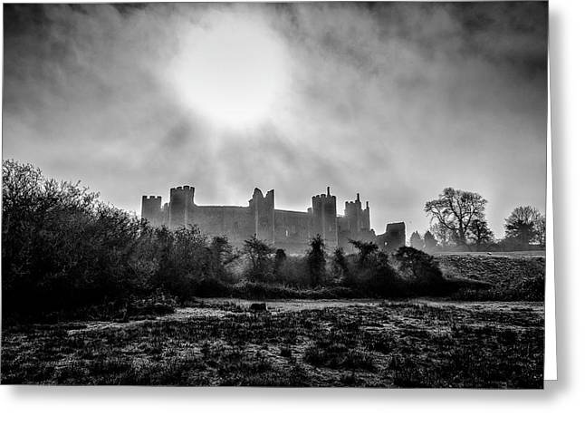 The Prevailing Sun. A Fine Art Photographic Print Of Framlingham Castle On A Foggy Suffolk Morning. Greeting Card by Lee Thornberry