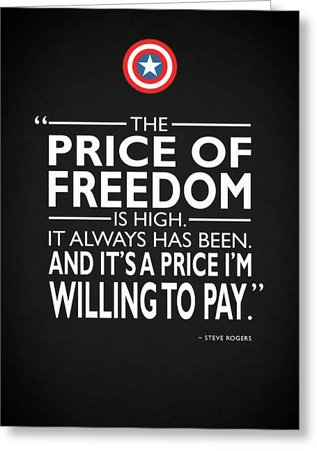 The Price Of Freedom Greeting Card by Mark Rogan