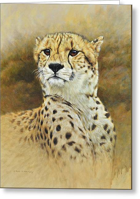 Greeting Card featuring the painting The Prince - Cheetah by Alan M Hunt