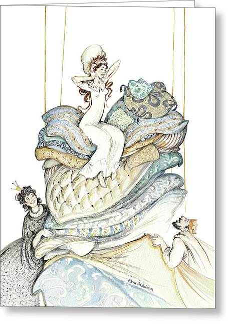 The Princess And The Pea, Illustration For Classic Fairy Tale Greeting Card