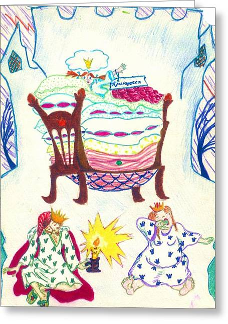 The Princess On A Pea Greeting Card by Rae Chichilnitsky