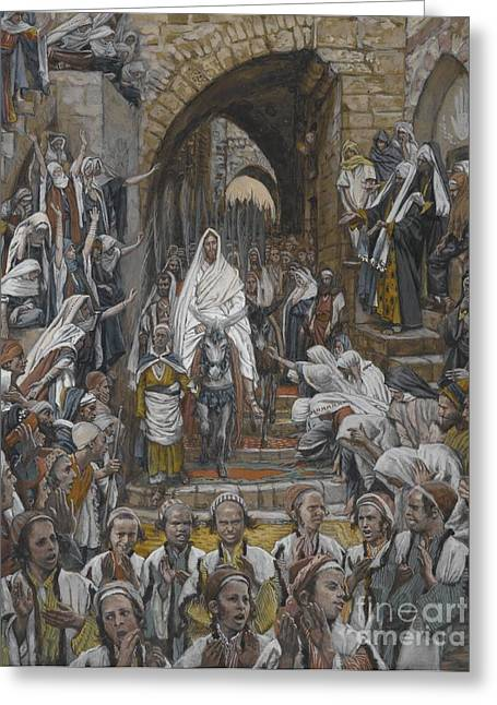 Best Sellers -  - The Followers Greeting Cards - The Procession in the Streets of Jerusalem Greeting Card by Tissot