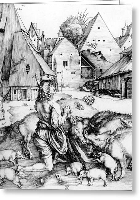 The Prodigal Son Greeting Card by Albrecht Durer or Duerer