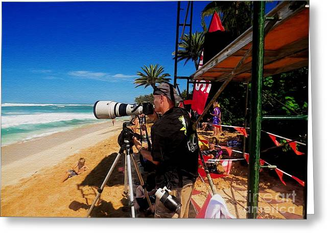 The Professional Surfing Photographer Greeting Card