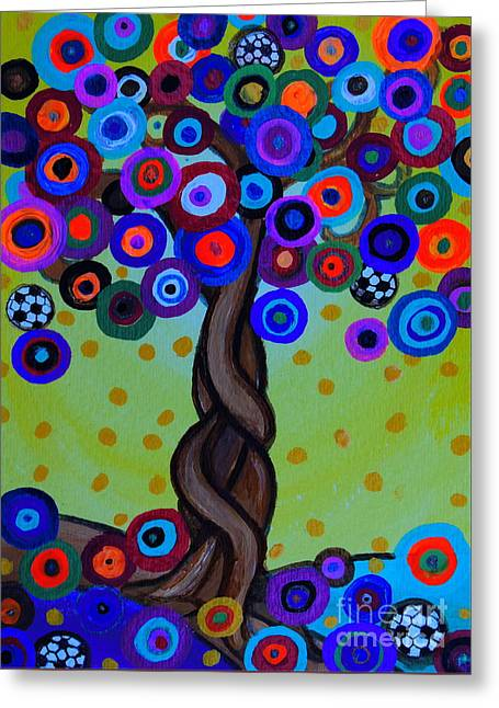 Greeting Card featuring the painting The Prolific Tree by Pristine Cartera Turkus