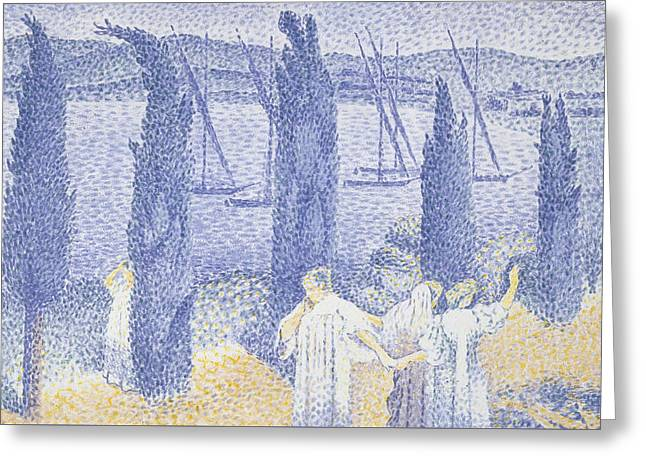 The Promenade Greeting Card by Henri-Edmond Cross
