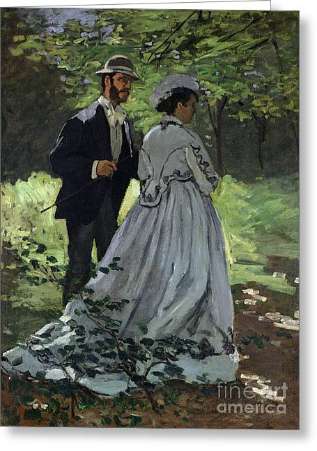 The Promenaders Greeting Card by Claude Monet