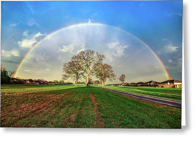 The Promise - Suburban Rainbow Greeting Card by Gregory Ballos