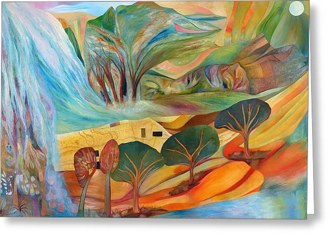 Greeting Card featuring the painting The Promised Land by Linda Cull