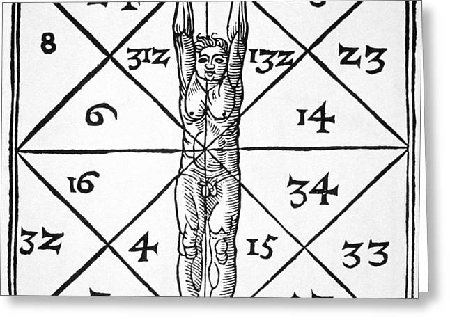 The Proportions Of Man And Their Occult Numbers From De Occulta Philosophia Libri IIi Greeting Card by Flemish School