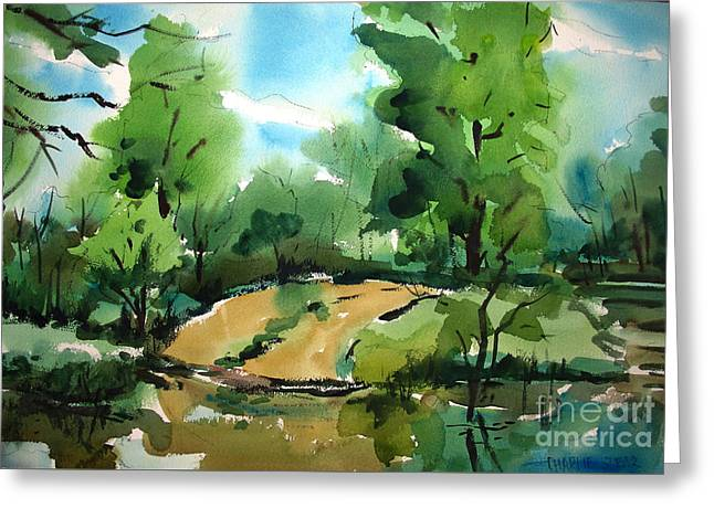 The Public Access Boat Ramp On The Little Mississinewa River Matted Glassed Framed Greeting Card by Charlie Spear