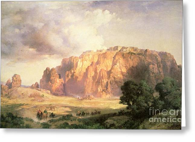 Rugged Greeting Cards - The Pueblo of Acoma in New Mexico Greeting Card by Thomas Moran