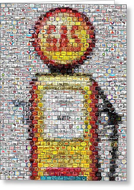The Pump Mosaic Greeting Card by Paul Van Scott