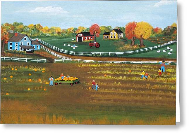 The Pumpkin Patch Greeting Card by Virginia Coyle