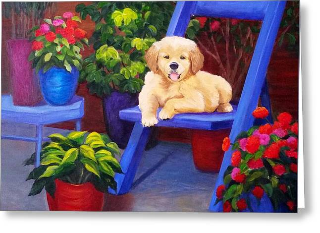 The Puppy In The Garden Greeting Card