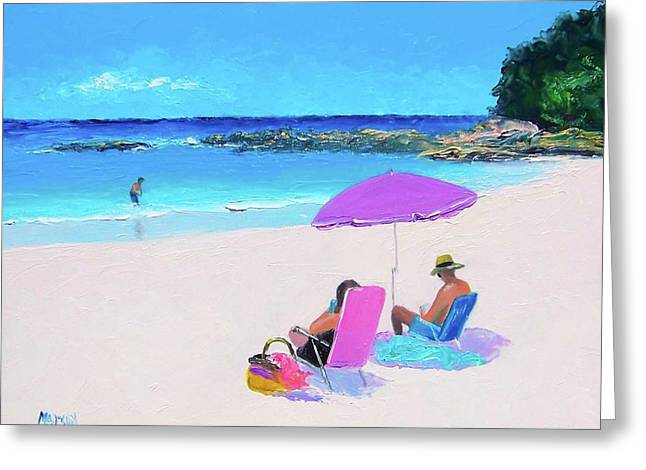 The Purple Beach Umbrella Greeting Card