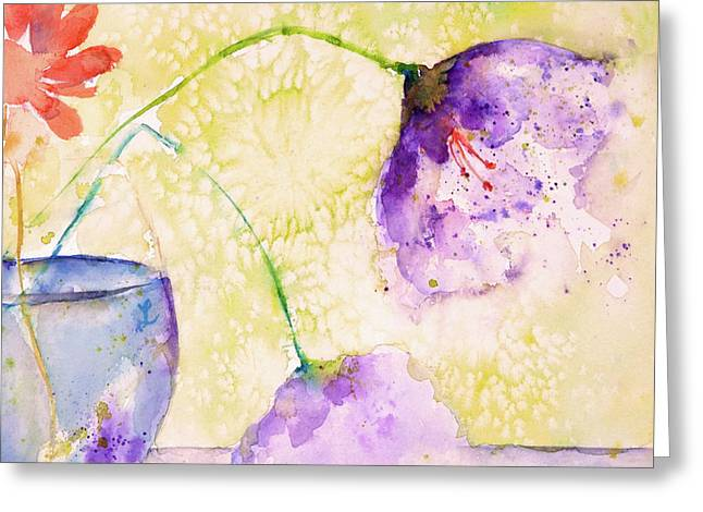 The Purple Flowers Greeting Card by Lynne Furrer