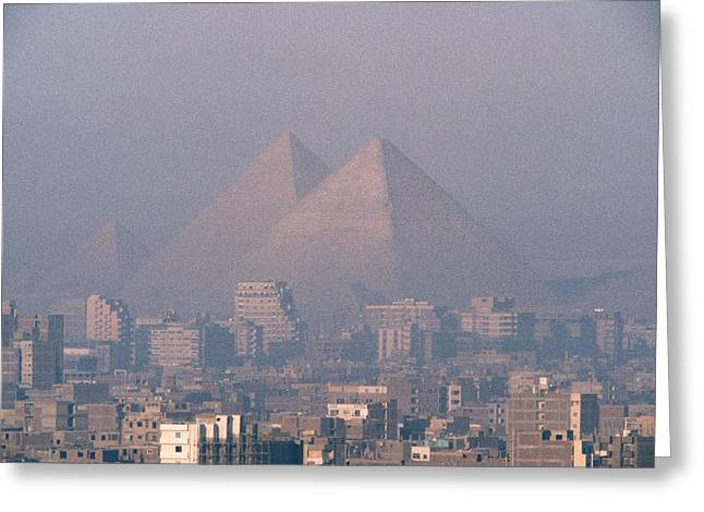 African Heritage Photographs Greeting Cards - The Pyramids At Giza And Cairo Greeting Card by Martin Gray