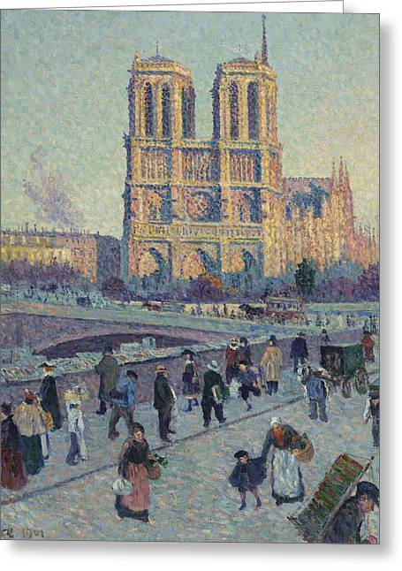 The Quai Saint-michel And Notre-dame Greeting Card by Maximilien Luce