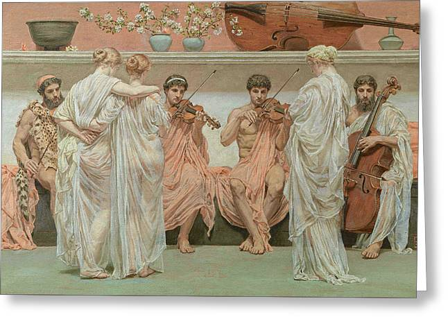 The Quartet, A Painters Tribute To Music Greeting Card by Albert Joseph Moore