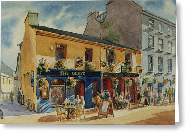 The Quays Pub Galway Greeting Card by Tomas OMaoldomhnaigh
