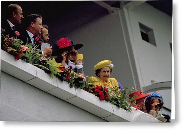The Queen At Derby Day 1988 Greeting Card