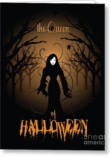 The Queen Of Halloween Witchy Woman Greeting Card