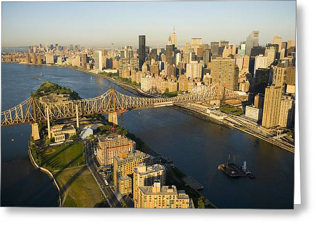 Image Setting Greeting Cards - The Queensborough Bridge, Roosevelt Greeting Card by Michael S. Yamashita