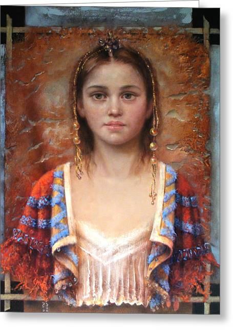 The Quiet Girl Greeting Card by Loretta Fasan