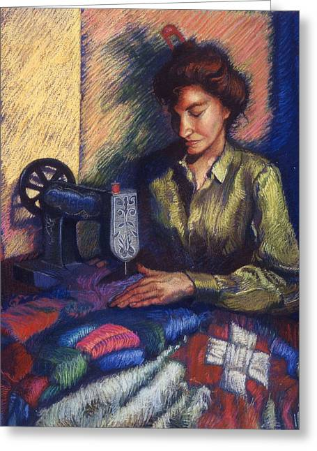 The Quilter Greeting Card by Ellen Dreibelbis