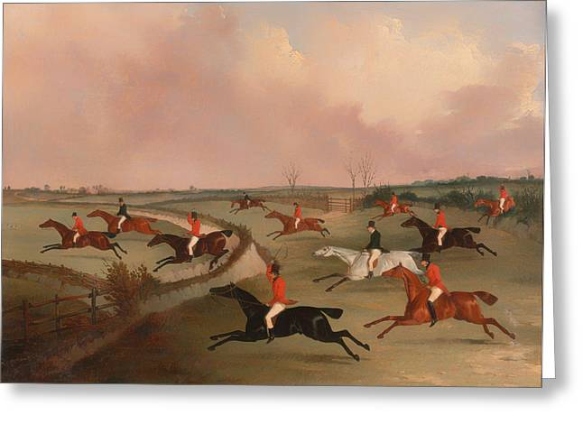 The Quorn Hunt In Full Cry Greeting Card by Mountain Dreams
