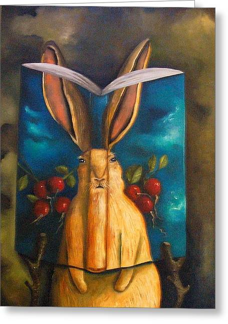 The Rabbit Story Greeting Card by Leah Saulnier The Painting Maniac