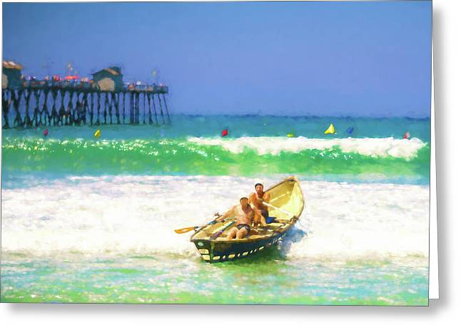 The Race Is On Lifeboat Race Watercolor Greeting Card