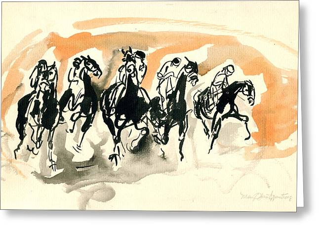 Greeting Card featuring the drawing The Race by Mary Armstrong