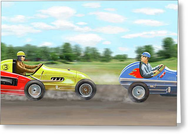 Greeting Card featuring the digital art The Racers by Gary Giacomelli