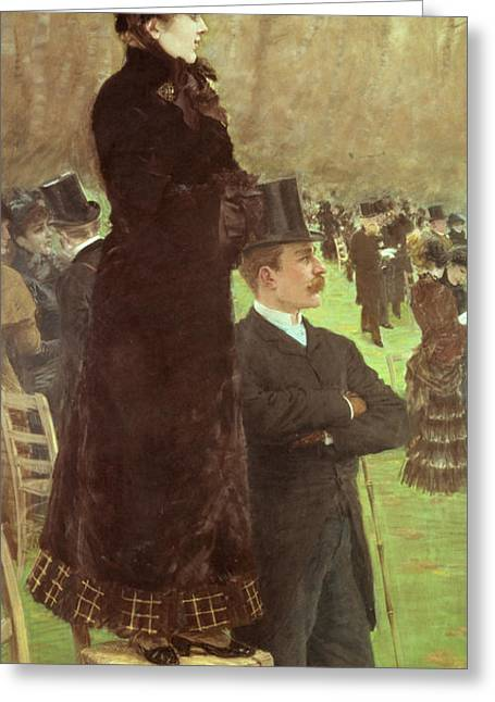 Punting Greeting Cards - The Races at Auteuil Greeting Card by Joseph de Nittis