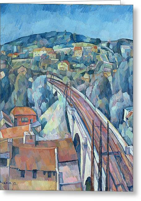 The Railway Bridge At Meulen Greeting Card by Walter Rosam
