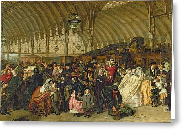 Oil Lamp Greeting Cards - The Railway Station Greeting Card by William Powell Frith