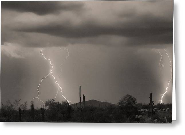Arizona Lightning Greeting Cards - The Rain is Coming BW Sepia Greeting Card by James BO  Insogna